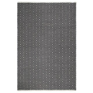 Fab Habitat, Indoor/Outdoor Floor Mat/Rug - Handwoven, Made from Recycled Plastic Bottles - Veria/Black & White - 6' x 9'