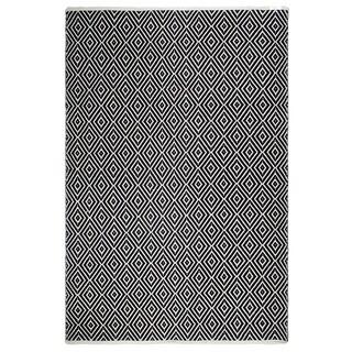 Fab Habitat, Indoor/Outdoor Floor Mat/Rug - Handwoven, Made from Recycled Plastic Bottles - Veria/Black & White - 5' x 8'