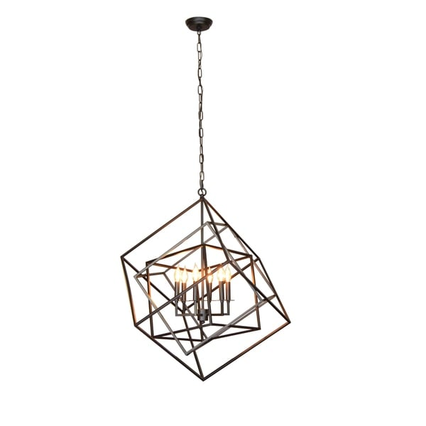 Y-Decor Electrified 6 Light Chandelier in Black