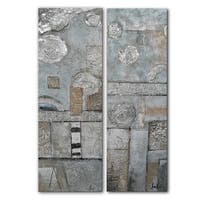 Benjamin Parker 'Abstract Expressions' 12-in by 36-in Hand Painted Canvas Set Wall Art