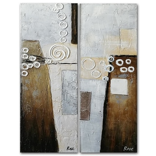 Benjamin Parker 'Motion in Mocha' 12-in by 36-in Hand Painted Canvas Set Wall Art