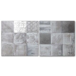 Benjamin Parker 'Squares on Squares' 16-in by 16-in Hand Painted Canvas Set Wall Art|https://ak1.ostkcdn.com/images/products/16343157/P22703616.jpg?_ostk_perf_=percv&impolicy=medium