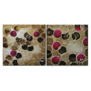 Benjamin Parker 'Circle Circle' 16-in by 16-in Hand Painted Canvas Set Wall Art