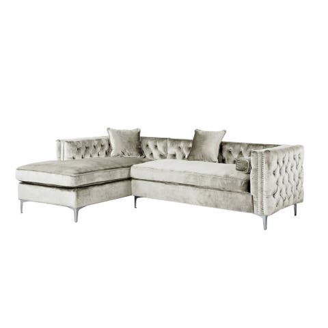 Chic Home Monet Button Tufted with Silver Nailhead Trim Metal Y-leg Left Facing Sectional Sofa, Silver