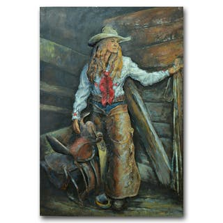 Benjamin Parker ' Cowgirl' 31-in by 47-in Dimensional Metal Wall Art|https://ak1.ostkcdn.com/images/products/16343165/P22703622.jpg?impolicy=medium