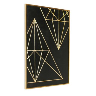 'Geometrics I' Golden Wood-framed Canvas Hand-painted Wall Art