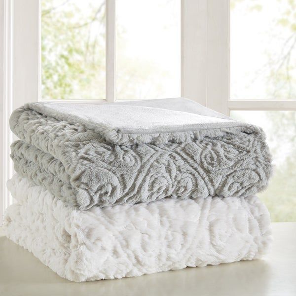 Madison Park Syracuse Ultra Plush Down Alternative Throw 2 Color Option