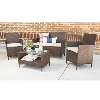 4-Piece Simple Rattan Patio Chat Set - Brown