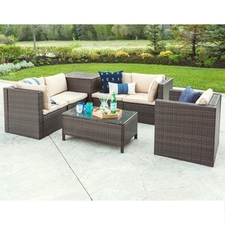 7 Piece Modern Rattan Chat Group   Brown