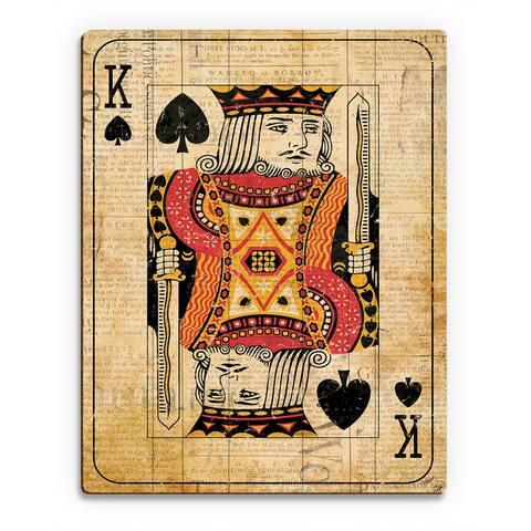 Vintage King Playing Card Wall Art Print on Wood