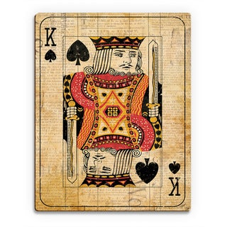 Vintage King Playing Card Wall Art Print on Wood