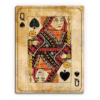 Vintage Queen Playing Card Wall Art Print on Wood
