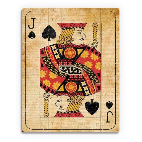 Vintage Jack Playing Card Wall Art Print on Wood