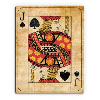 Vintage Jack Playing Card Wall Art Print on Wood