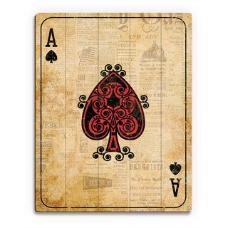 Vintage Ace Playing Card Wall Art Print on Wood (More options available)