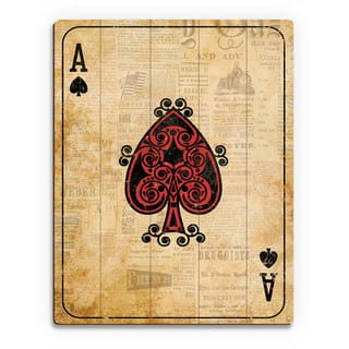 Vintage Ace Playing Card Wall Art Print on Wood