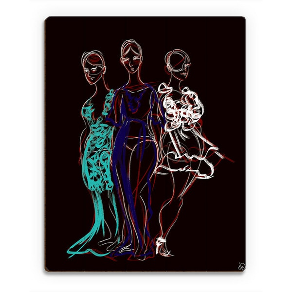 Fashionista Trio Red Sketch Wall Art Print on Wood