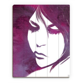 Violet Lit Face Woman Wall Art Print on Wood