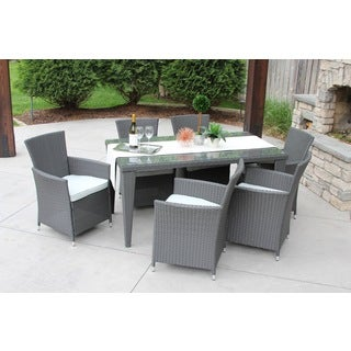 7 PC Outdoor All-Weather Grey Rattan Wicker Textured Glass Table Patio Garden Dining Set