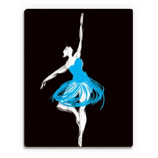 Cyan Ballerina Wall Art Print on Wood