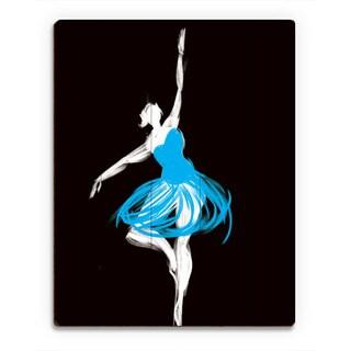 Cyan Ballerina Wall Art Print on Wood