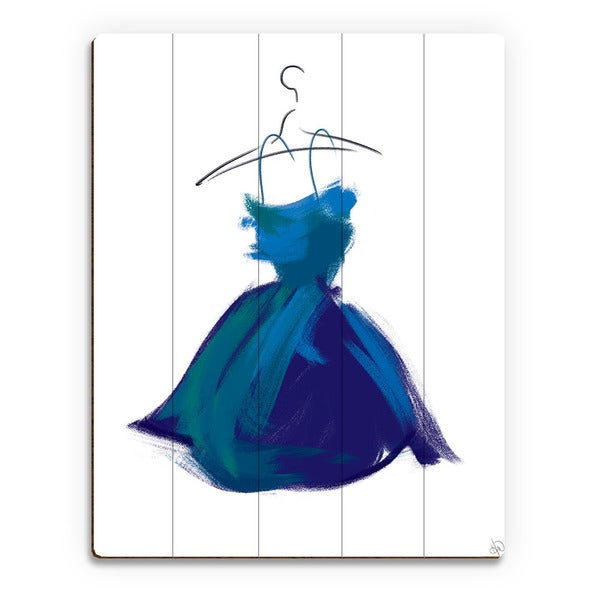 Little Azure Dress Wall Art Print on Wood