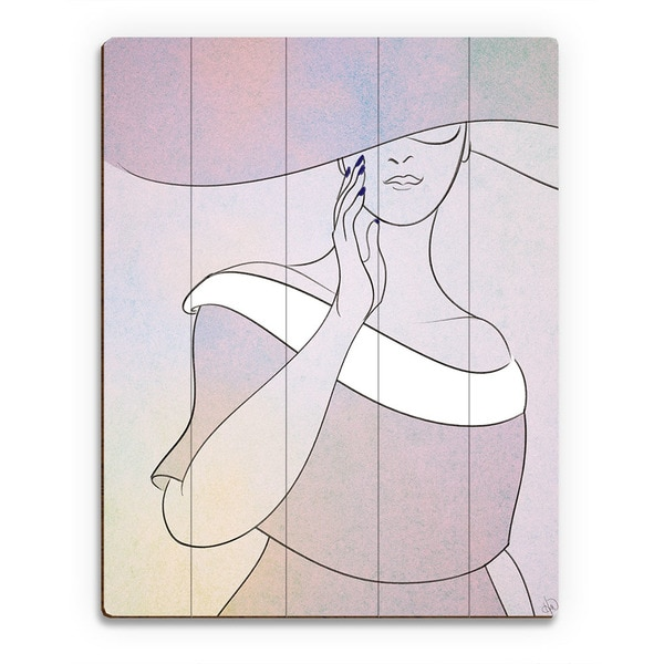 Lavender Woman with Hat Wall Art Print on Wood