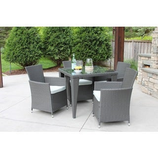 5 PC Outdoor All-Weather Grey Rattan Wicker Textured Glass Table Patio Garden Dining Set