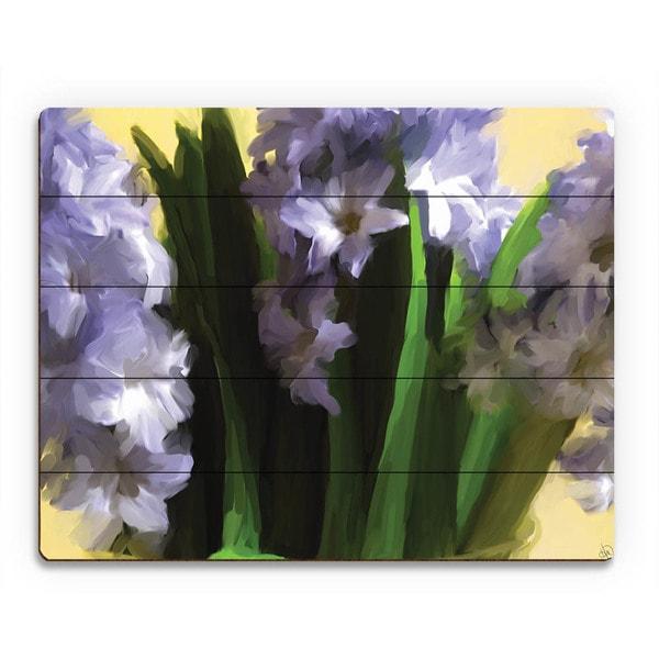 Purple Vase of Hyacinth Flowers Wall Art on Wood