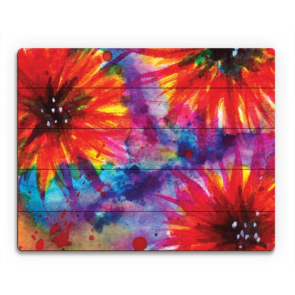 Dalia Flowers in Red Wall Art Print on Wood