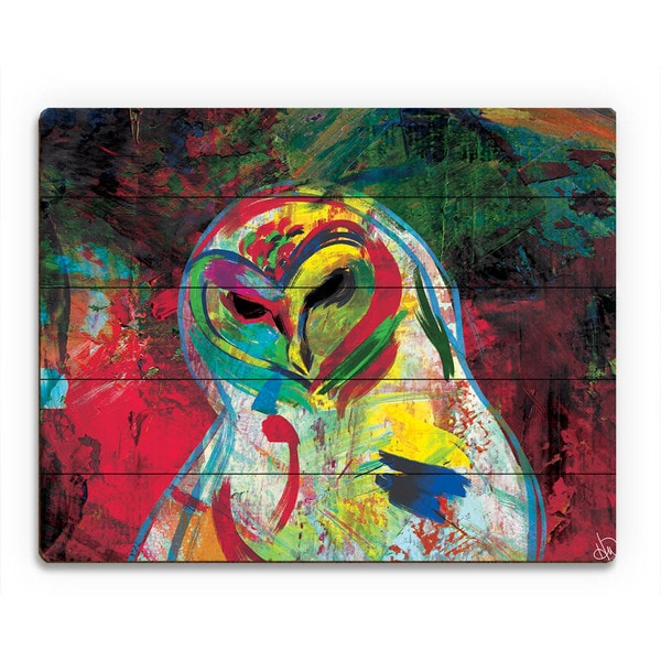 Spooky Colorful Owl on Crimson Wall Art on Wood