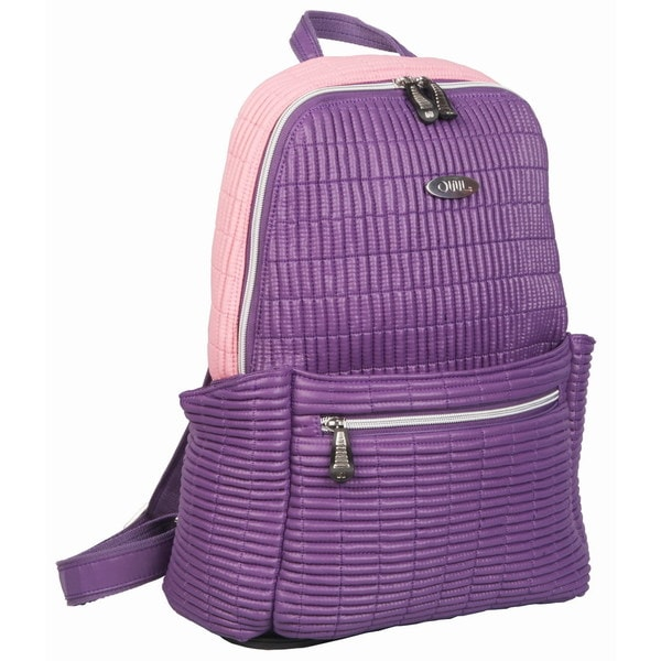 OUUL Ribbed Purple/ Pink Ladies 9-inch Laptop Backpack