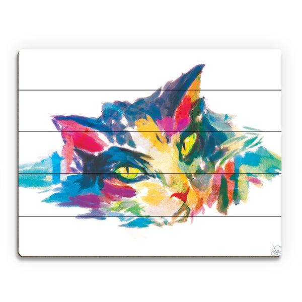 Watercolor Cat in Blue Wall Art Print on Wood