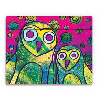 Wild Colorful Owls -Yellow Wall Art Print on Wood