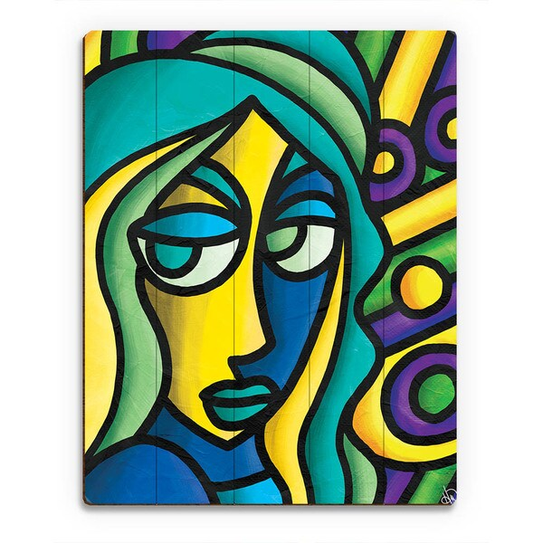 Colorful Thoughts Woman Wall Art Print on Wood