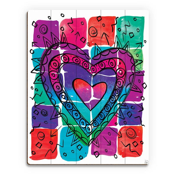 Wild Color Heart Wall Art Print on Wood