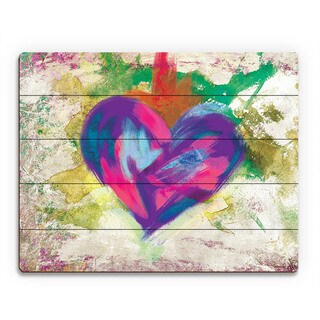 Up Beat Violet Abstract Heart Wall Art on Wood