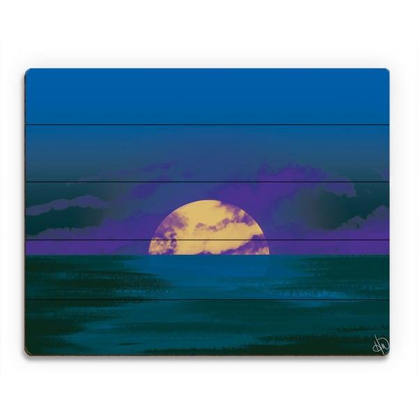 Cobalt Seascape Sunset Wall Art Print on Wood