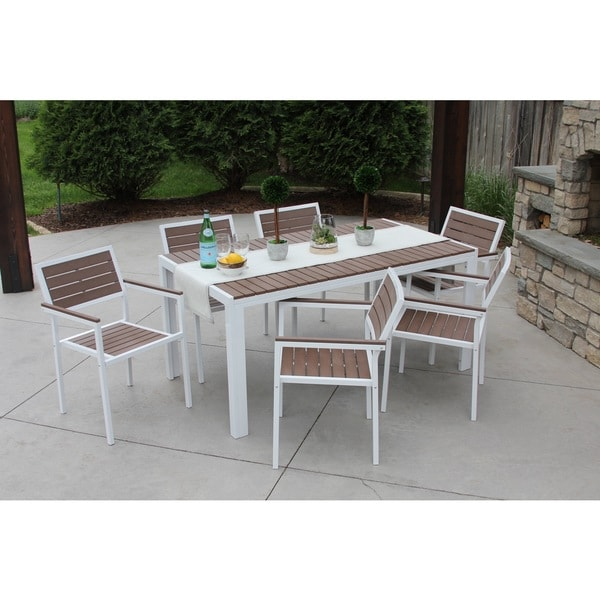 Discontinued 7 Piece Outdoor Patio Dining Set Winston White Bay Brown