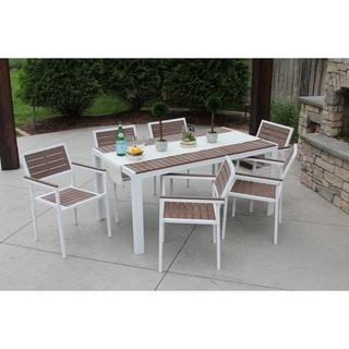 7 Piece All-Weather Outdoor Patio Furniture Garden Deck Dining Set White/Bay Brown