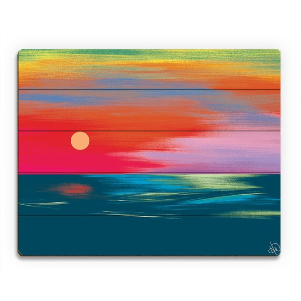 Setting Scarlet Seascape Sunset Wall Art on Wood