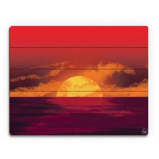 Amber Seascape Sunset Wall Art Print on Wood