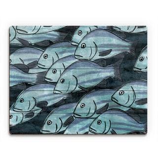 School Of Fish in Dark Blue Wall Art Print on Wood