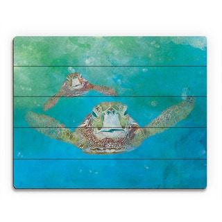 Two Sea Turtles Swimming Wall Art Print on Wood