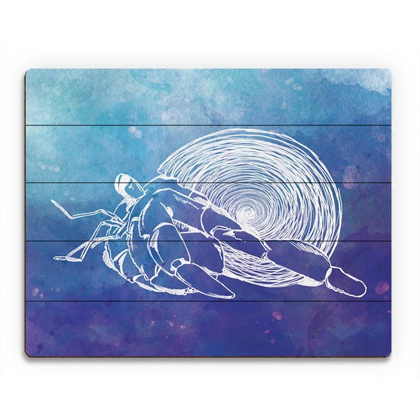 Hermit Crab on Blue Wall Art Print on Wood