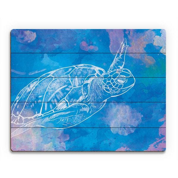 Sea Turtle Swimming on Blue Wall Art Print on Wood