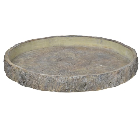A&B Home Grey Faux Wood Stone 18-inch Round Plate