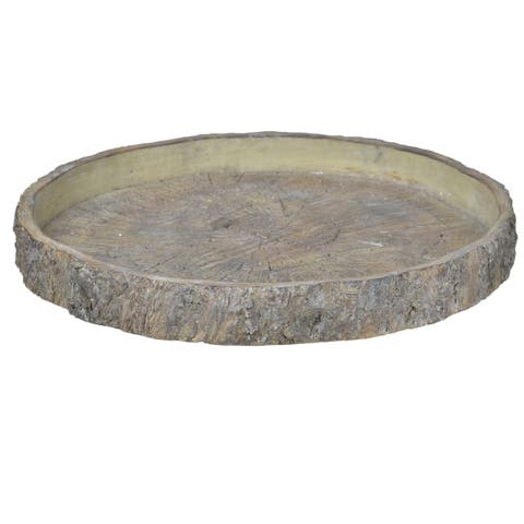 Grey Faux Wood Stone 18-inch Round Plate