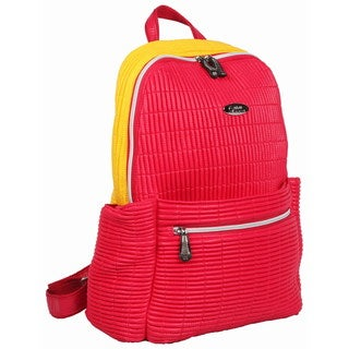 OUUL Ribbed Red/ Yellow Ladies 9-inch Laptop Backpack
