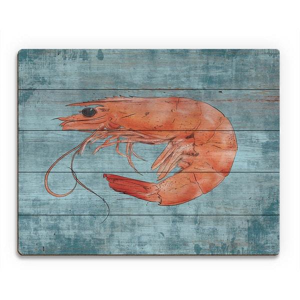 Fresh Shrimp on Blue Wall Art Print on Wood